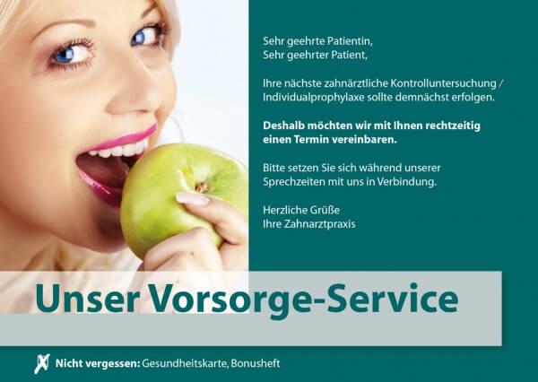 Vorsorge-Service Frau mit Apfel (Motiv 6)