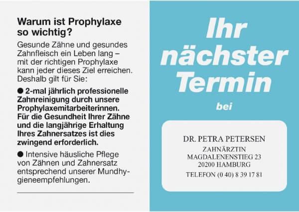 Terminkarte-Zahnarzt-Hellblau metallic