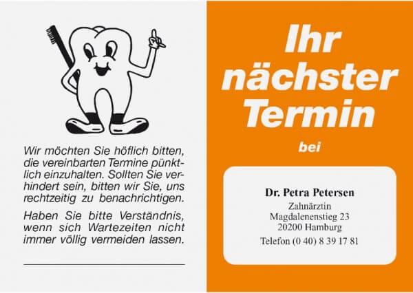 Terminkarte-Zahnarzt-Orange