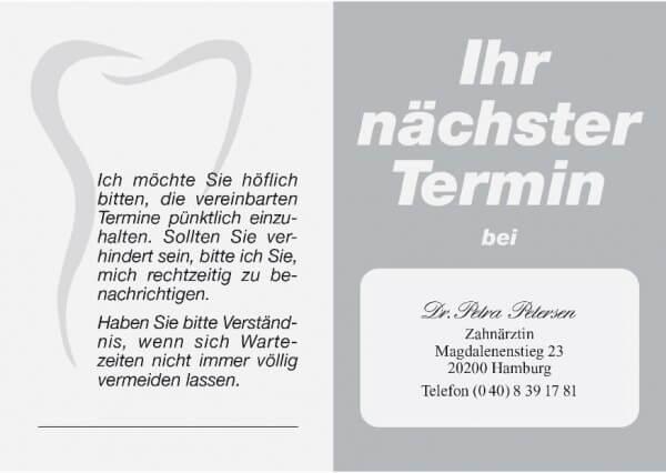 Terminkarte-Zahnarzt-Silber metallic