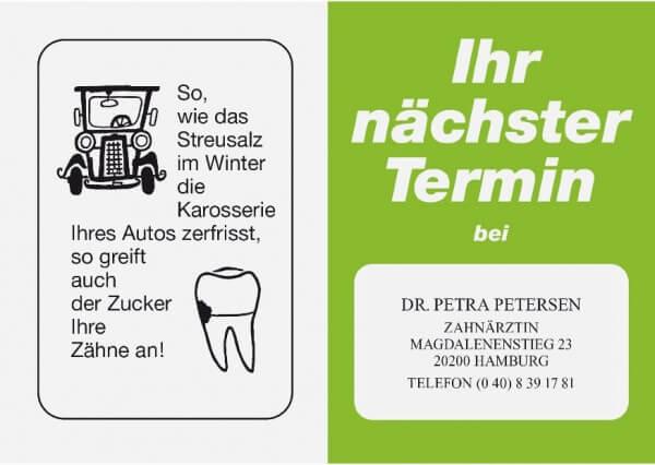 Terminkarte-Zahnarzt-Apfelgrün