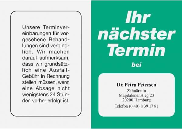 Terminkarte-Zahnarzt-Grün 53 (Mintgrün)