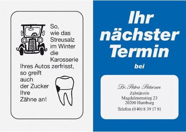 Terminkarte-Zahnarzt-Dunkelblau