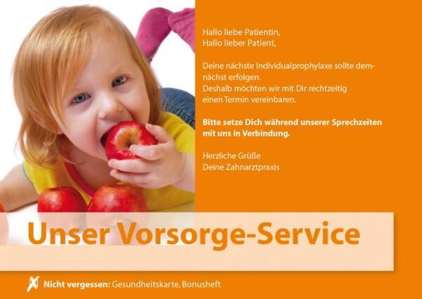 Vorsorge-Service Kind mit Apfel (Motiv 3)