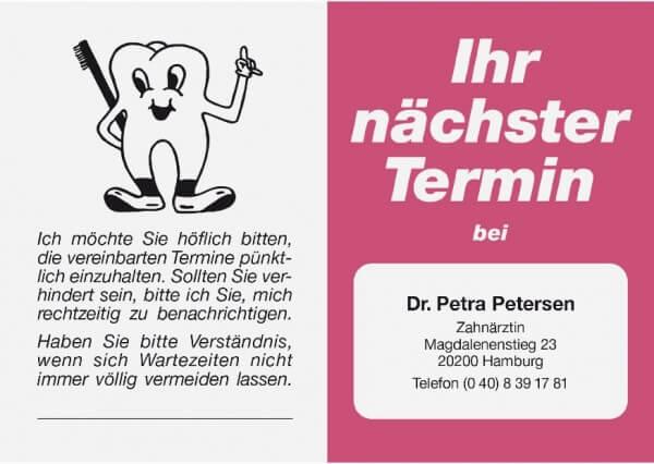 Terminkarte-Zahnarzt-Rot metallic (Alt-rosa)