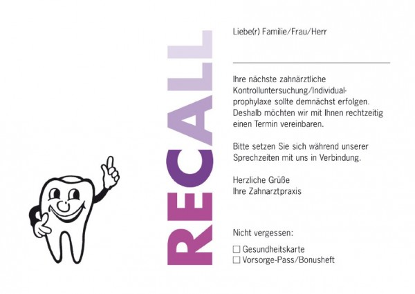 Recall-Postkarten RECALL (pink/violett)