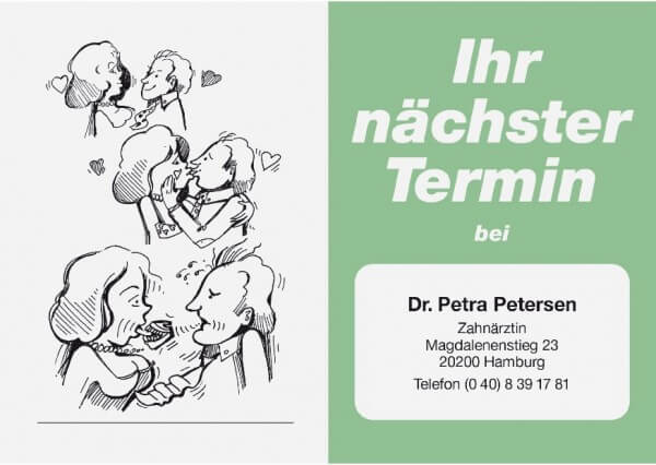 Terminkarte-Zahnarzt-Lindgrün metallic