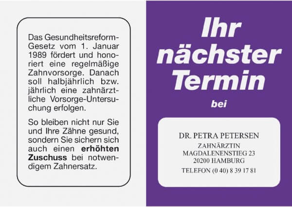 Terminkarte-Zahnarzt-Violett