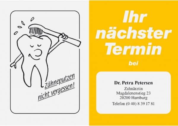 Terminkarte-Zahnarzt-Gelb